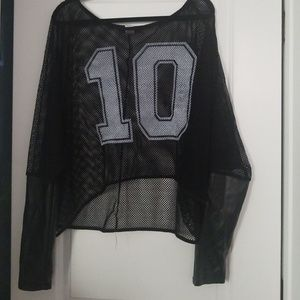 Tops - Mesh Graphic Top W Faux Leather Sleeves Sz 2X
